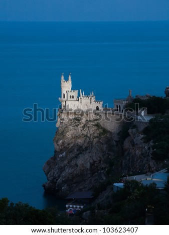 Nighttime photos of well-known castle Swallow's Nest near Yalta in Crimea, Ukraine - stock photo