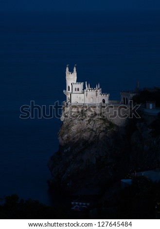 Nighttime photos of well-known castle Swallow's Nest near Yalta in Crimea, Ukraine