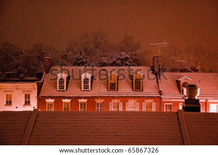 Nighttime Snow Georgetown Apartments Buildings Rooftops in Snowstorm at Night Washington DC