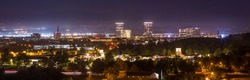 Nighttime view of the Irvine, California skyline.