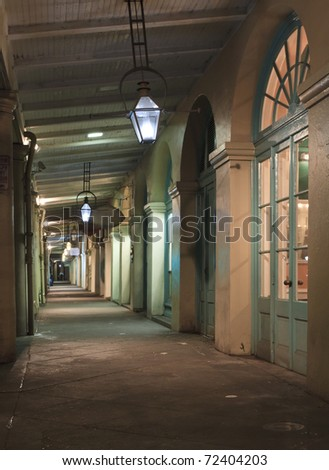 Nighttime view of the walkway in the French Market in New Orleans, Louisiana
