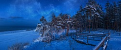 Nighttime winter scene with snow covered pine forest in a moon light at starry night. Panoramic view of coniferous forest with wooden pathway near sea coast against beautiful night sky with stars.
