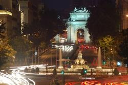 Nightview of Fuente Cibeles and Puerta de Alcala in Madrid, Spain
