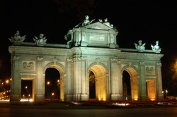 Nightview of Puerta de Alcala in Madrid, Spain
