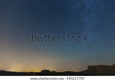 nighty sky with many stars during summer  night over desert #430227787