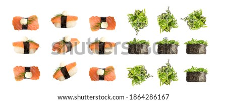 Nigiri Sushi and Susi with Green Seaweed Chukka Collection Isolated on White Background. Set of Susi with Salmon and Nori Isolated Stok fotoğraf ©