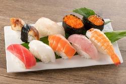 Nigiri sushi on a plate