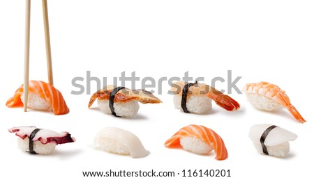 Nigiri Sushi on a white background - stock photo