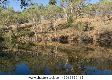 Nigretta Falls area previously known as the Upper Wannon Falls in the Southern Grampians Shire, near Hamilton, Victoria and fed by Wannon River. The currently still water reflecting it's surroundings. Stock photo ©