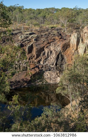 Nigretta Falls during the dry season. Previously known as the Upper Wannon Falls in the Southern Grampians Shire, near Hamilton, Victoria and fed by Wannon River.  Stock photo ©