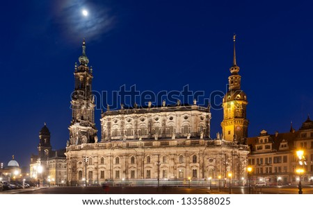 Nigt scene with in Dresden with moon in sky