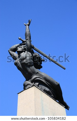 Nike statue in Warsaw, Poland. Nike in Greek mythology was a goddess who personified victory, also known as the Goddess of Victory.