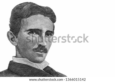 Nikola Tesla, Genius scientist and inventor, famous by the inventions in electricity. Portrait from Yugoslav Banknotes.