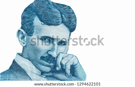Nikola Tesla portrait. From Serbia banknote isolated. Genius scientist and inventor, famous by the inventions in electricity. Closeup Collection