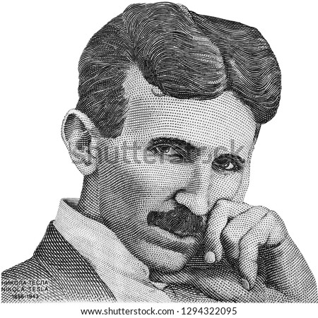 Nikola Tesla portrait on Serbia banknote isolated. Genius scientist and inventor, famous by the inventions in electricity.  Black and white.