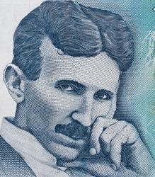 Nikola Tesla portrait on Serbia 100 dinars banknote close up macro, Serbian money closeup