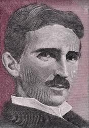 Nikola Tesla portrait on Yugoslavia 5 dinars(1994) banknote close up macro, Yugoslavian money closeup