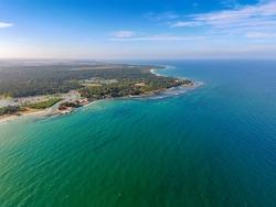Nilaveli beach in Trincomalee, Sri Lanka. Back Bay of Indian Ocean near Trincomalee Town,  coastal resort city. Panoramic Top View on beach in Trincomalee.