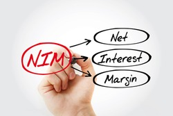 NIM - Net Interest Margin acronym with marker, business concept background
