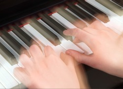 nimble hands playing the piano