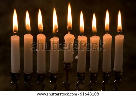 Nince candles in a jewish hanukkah candle-holder