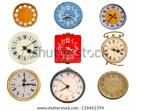 nine ancient clock dial collection  isolated on white