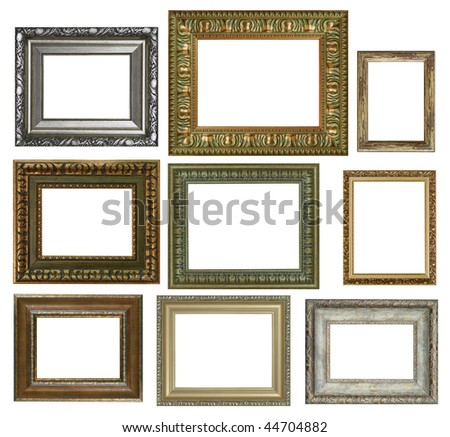 nine antique picture frames. High resolution
