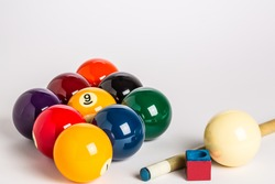 Nine Ball racked in a diamond shape on a plain white background left side with cue stick, chalk and cue ball ion foreground.