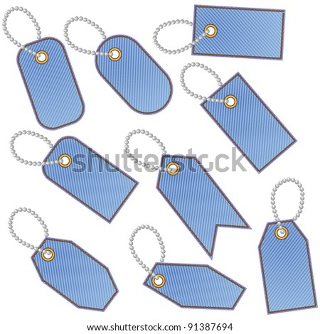 Nine blank blue stitched denim tags with chain made of balls