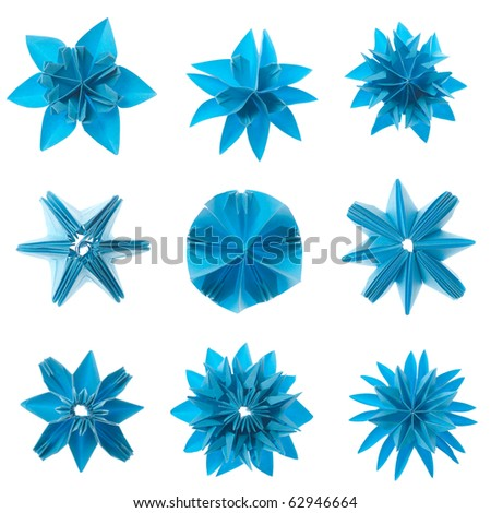 Nine blue origami units snowflake set isolated on white background