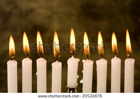 Nine candles for the jewish holiday hanukkah