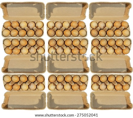 Nine carton packages, brown eggs in a carton package isolatede on white