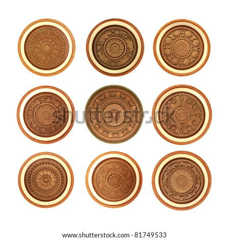 Nine different carved wooden patterns - stock photo