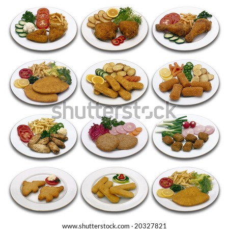Nine different chicken menu isolated with clipping path
