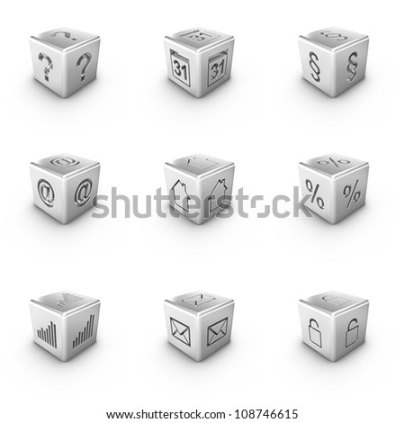 Nine different 3D silver cubes web icons