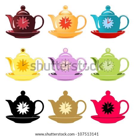 Nine differently colored teapots on plate with clocks