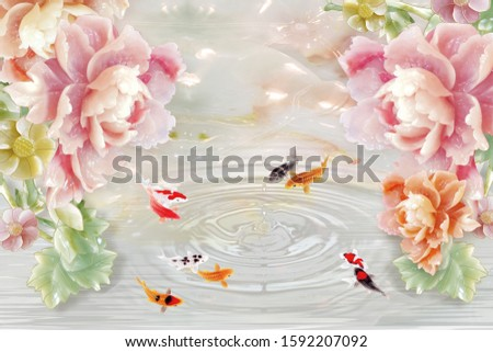 Nine fishes swimming around the circle of water near pink pearl flower for wall, TV backdrop, or receptionist backdrop decoration. 3D rendering