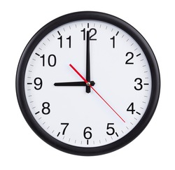 Nine hours on a round clock face