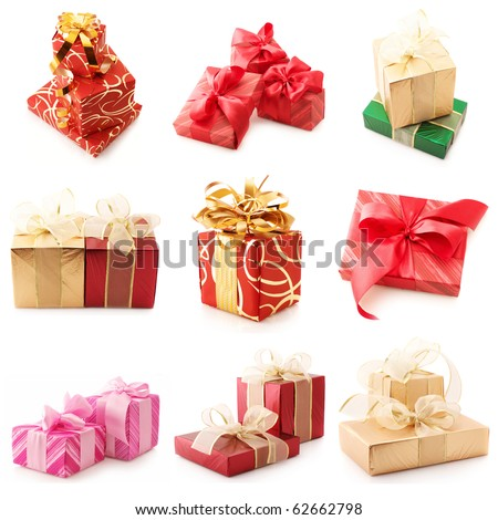 Nine images of colorful gifts isolated on white background.