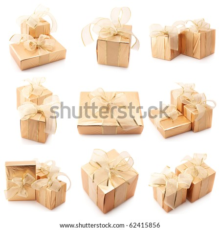 Nine images of golden gifts isolated on white background.