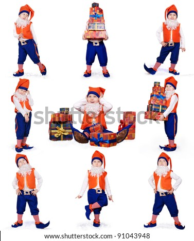 Nine images of little gnome dancing and preparing Christmas gifts on white background
