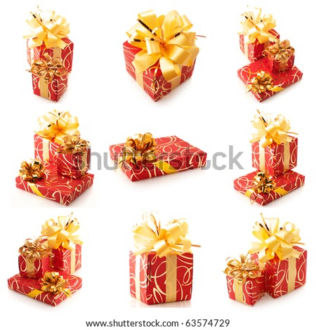 Nine images of red and gold gifts isolated on white background.