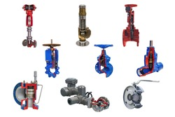 nine modern shut-off valves with automatic and manual control for a gas pipeline isolated on a white background. Lengthwise cut