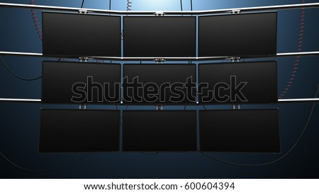 Nine Panel Video Monitor Wall. a futuristic nine panel video wall with blank screens and cords mounted on pipes Сток-фото ©