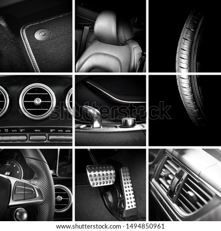 Nine pictures, square collage of car interior and exterior details, detailing concept background