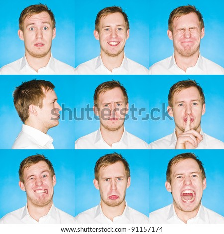 Nine portraits with different expressions of a young man on blue background