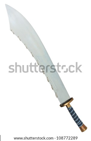Nine Ring Broad sword isolated on white background with clipping path