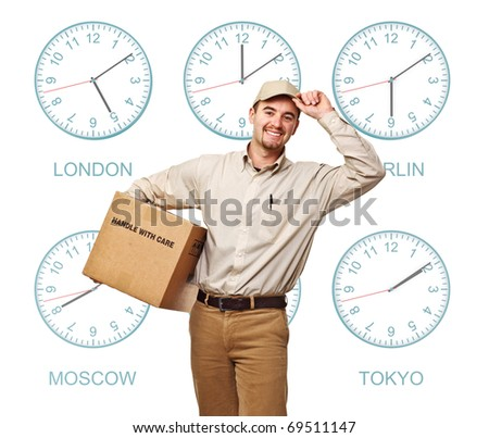 nine time zone clock and smiling delivery man