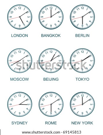 nine time zone clock isolated on white background