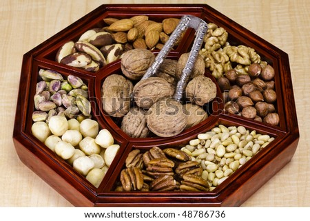 Nine types of nuts and a nutcracker,
